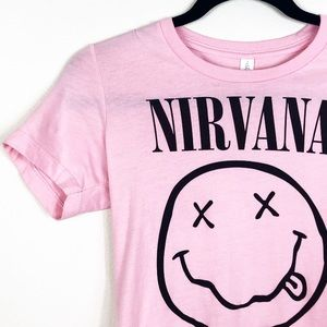 Nirvana Short Sleeve Graphic Tee Shirt Pink Small